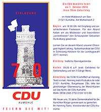 Einladung CDU Aumühle 70 Jahr Feier 2016